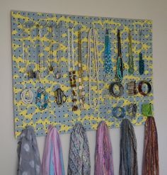 Jewelry Organizer Wall Display,  Jewelry Holder, Custom, Hand Painted, Grey, Yellow $91.00 https://www.etsy.com/listing/130737067/jewelry-organizer-wall-display-jewelry?ref=shop_home_active