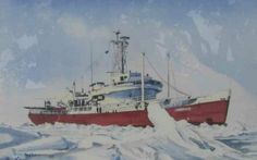 """Artist: Jay Langford (Canadian). Title: Ice and Steel (CCGS Labrador). Date: 1980. Size: 21"""" x 14"""" (53.3 x 35.5 cm)."""