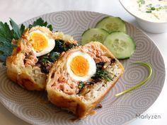 Koulibiac : saumon, épinards, riz, champignons.