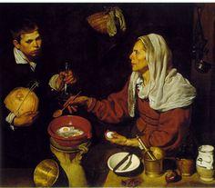 [계란을 부치는 노파] 벨라스케스   보데곤이라는 스페인 특유의 장르화이다. 17세기 스페인 미술에서 음식과 그릇 등 정물 주제를 부각시키면서 서민의 일상 생활 장면을 묘사하였다. 투명한 유리병, 금속 절구 등 다양한 표면의 표현이 잘 되어있다. 벨라스케스는 서민을 조롱거리나 그 특징은 과장시키지 않았다. 노파의 표정은 명상적인 느낌이다. 멜론과 포도주병을 들고있는 소년이 심각한 표정으로 화면 밖의 관람자이 나를 응시하고 있는 듯한 느낌이 들었다.. 벨라스케스는 <시녀들>에서도 그랬듯이 작품 속 인물이 작품 밖의 관람자를 응시하는 듯한 시선을 가지도록 한다
