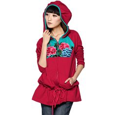 #Swanmarks (Chinese Style Clothing) Liebo New Embroidery Color Block Lace-up Hood Sweater