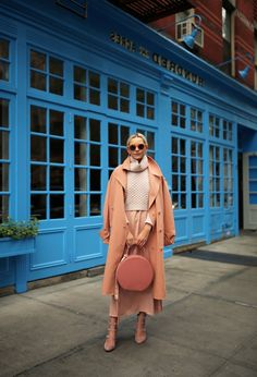 Coat: Tibi (also here). Slip Dress (under $50). Shoes: Club Monaco. Bag: Mansur Gavriel. Sunglasses: Old, similar. Sweater: Club Monaco (on sale). JavaScript is currently disabled in this browser. Reactivate it to view this content.