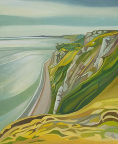 Anna Dillon - The Devon Series - Beer Head.  Beer Head is a dramatic section of chalk cliff to the right of Beer Town on the coast of East Devon. This painting was taken from walking along the coastal path towards Branscombe and Sidmouth.