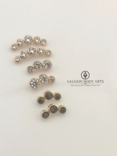 We received some gorgeous new 18k rose gold clusters from @anatometal.   These five gem and three gem clusters look incredible in pretty much any piercing. And with a lifetime guarantee from any sort of defect, you can be rest assured that you'll get to enjoy your jewelry forever!   Available at Vaughn Body Arts, or online at vaughnbodyarts.com.   @vaughnbodyarts Monterey, CA