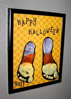 Candy Corn footprints...a cute way to remember how tiny your children's feet once were.