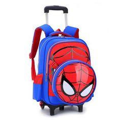 2017 New school bag with 6wheel Removable backpack Cartoon orthopedic school bags trolley school bags for girls boys 3-6 grade