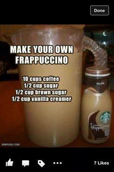 2 1/2 cups of coffee, 2 tbsp. of sugar, 2 tbsp. of brown sugar, 2 tbsp. of vanilla creamer makes about two servings;)