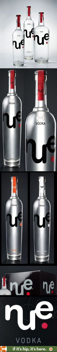 Nue Vodka in regular, peach and whipped cream flavors. Logo and bottle designs by The Hammerhead Agency.