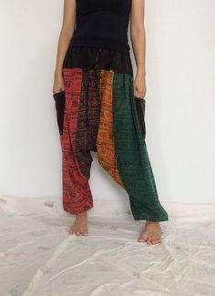 Mixed Colors Hippie Harem Pants, Unisex Pants, Drop Crotch Pants, Baggy Pants with Om patterned (HR-564) by ThaiFascinate on Etsy