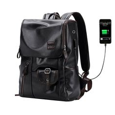 External USB Charge Backpack, External USB Charge Waterproof Backpack Fashion PU Leather Travel Bag Casual School Bag For Teenagers. #backpack #menswear #dapper #fashion