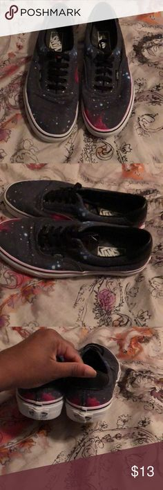 Galaxy vans Galaxy vans that is in decent condition the only problem are back where the logo is coming off Vans Shoes Sneakers