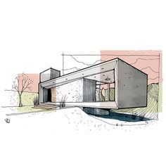 Shop drawings aren't produced by architects. In many instances, a flat elevation drawing isn't enough to have an appropriate feel of the undertaking. Drawing, in the custom of architecture, is fast turning into a lost art. The architecture drawing will … Sketchbook Architecture, Architecture Concept Drawings, Architecture Graphics, Landscape Architecture, Architecture Design, Architectural Drawings, Architectural Models, Architecture Illustrations, Portfolio D'architecture