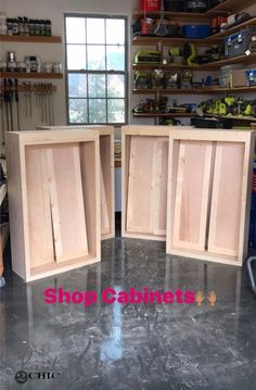 DIY Cabinets For A Garage, Workshop or Craft Room! - Shanty 2 Chic Build your own DIY Shaker Style Cabinets with free plans! Easy to customize and perfect for your work shop, garage or craft room! Shaker Style Cabinets, Shop Cabinets, Built In Cabinets, Diy Cabinets, Bathroom Cabinets, Base Cabinets, Storage Cabinets, Kitchen Cabinets, How To Build Cabinets