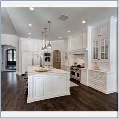 White Kitchen Cabinets With Dark Hardwood Floors