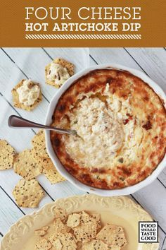 This Four Cheese Hot Artichoke Dip is sure to be a favorite at any picnic, BBQ, or tailgate party.  This recipe is light on artichoke, heavy on cheese and has the perfect amount of spice.  Pair this with Food Should Taste Good™ Multigrain chips, or Jalapeno chips for an extra kick.