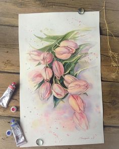 Watercolor Artwork, Watercolor Cards, Watercolor Flowers, Watercolour, Tulip Painting, Painting & Drawing, Art Sketches, Art Drawings, Wildflower Drawing