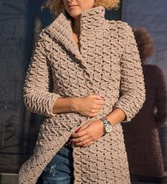 Thank you so much for visiting my store ! ****************************************************** WOMEN knitting cardigan in dimensions : SIZE XS: Bust Height Crochet Jacket Pattern, Crochet Coat, Knitted Coat, Crochet Cardigan, Crochet Clothes, Casual Fall Outfits, Winter Outfits, Simply Crochet, Crochet Ripple