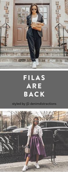 We love throwing back with the Disruptor from Fila. @denimdistractions shows us two looks with these old school sneakers.