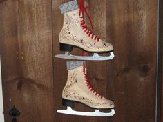 Primitive, Hand-painted Ice Skates. $39.00, via Etsy.  Trying to figure out what to do with the old ice skates I picked up at the thrift store. I kind of hate the snowmen scenes - this is much better.