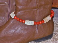 Spruce Up Your Boots  Beaded Boot Bracelet w Red Coral and Feldspar by RomanticThoughts