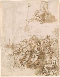 Palma Giovane (Jacopo Negretti), c.1548-1628, Italian, Verso: Allegorical Figures with a View of Venice, 1612-1615.  Pen and brown ink, brown wash, over black chalk, 28.7 x 22.5 cm.  Morgan Library & Museum, New York.  Mannerism.