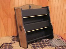 PRIMITIVE WOOD PAPER TOWEL FOIL HOLDER BLACK TAN CRACKLE COUNTRY STAR DECOR