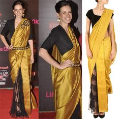 GET THIS LOOK: Kalki Koechlin looks absolutely gorgeous in this half silk and half net sari by NIKHIL THAMPI.  Shop the designer now at: http://www.perniaspopupshop.com/designers-1/nikhil-thampi