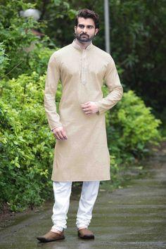 3c7e2383618 Beige Cotton Silk Designer Kurta Pyjama sku 518766 Kurta Men