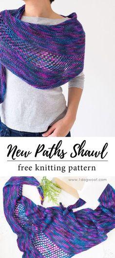 Gorgeous lightweight asymmetrical shawl/scarf/wrap for summer! Free knitting pattern at www.1dogwoof.com #summerknittingpatterns
