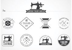 Great as logo for a tailor or sewing shop. A set of 9 vector vintage tailor labels, emblems and designed elements such as vintage sewing machine. Use them however you wish. Please just link back for credit. Thanks!