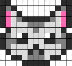 Perler Grey Striped Kitty Perler Bead Pattern / Bead Sprite
