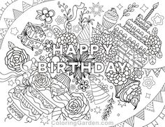 Free printable Happy Birthday adult coloring page. Download it in PDF format at http://coloringgarden.com/download/happy-birthday-coloring-page/