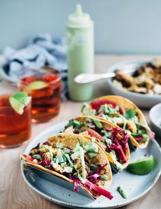 These easy grilled chicken tacos start with a vibrant orange and lime juice marinade, and are layered with avocado-lime sauce and a simple red cabbage slaw. Purple Cabbage Slaw, Avocado Dishes, Grilled Chicken Tenders, Mexican Food Recipes, Ethnic Recipes, Seasonal Food, Cabbage Soup, Food Inspiration, Brooklyn