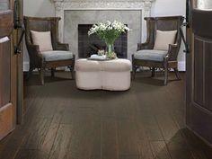 """Shaw Floors Sequoia Hickory Bearpaw- 3-1/4"""", 5"""", 6-3/8"""". Handscraped Engineered Hickory hardwood floor. Dark floor"""