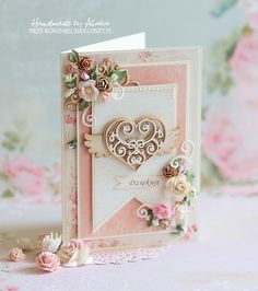 Delikatna, romantyczna, kwiecista :) Valentine Day Cards, Valentines, Shabby Chic Cards, Engagement Cards, Diy Gifts For Boyfriend, Heartfelt Creations, Heart Cards, Vintage Crafts, Homemade Cards