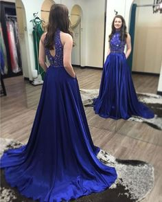 royal blue prom dress,long Prom Dresses,beaded prom dress,charming prom dress,cheap prom dresses,BD3844
