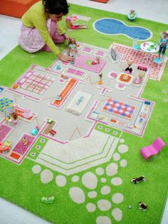 Cute Barbie house rug - wow, if C ends up in to barbies I know what to get her!