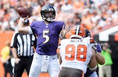 Sep 18, 2016; Cleveland, OH, USA; Baltimore Ravens quarterback Joe Flacco (5) throws a pass during the first quarter against the Cleveland Browns at FirstEnergy Stadium. Mandatory Credit: Ken Blaze-USA TODAY Sports