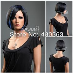 hair wig beauty on sale at reasonable prices, buy Personality Non-Mainstream Fashion Flutty Charm New Arrival Black & Blue Short Straight Synthetic Bob Hair Wigs For Women from mobile site on Aliexpress Now! Black Bob Hairstyles, Hairstyles Haircuts, Pretty Hairstyles, Straight Hairstyles, Hairstyle Ideas, Short Bob Wigs, Short Hair Cuts, Short Hair Styles, Hair Color For Black Hair