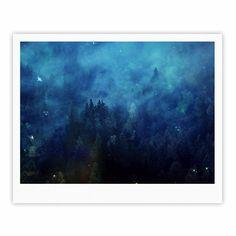 "888 Design ""Blue Night Forest"" Blue Black Fine Art Gallery Print"
