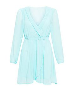 Madam Rage Mint Green Wrap Front Skater Dress  | New Look