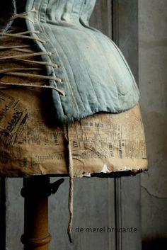antique indigo corset on antique dress form Dress Form Mannequin, Vintage Mannequin, Corsets, Vintage Decor, Vintage Antiques, Fru Fru, Mannequins, Blue Brown, Shades Of Blue