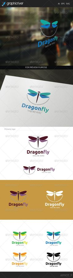 Dragonfly Logo   http://graphicriver.net/item/dragonfly-logo/8172879?ref=damiamio       Dragonfly Logo  Featured:           AI CS4 Document      EPS 10 Document      PDF Document      CMYK 100 % Vector (Re-sizable)      300PPI     This Logo use free font more detail in help file.     Created: 4July14 GraphicsFilesIncluded: VectorEPS #AIIllustrator Layered: No MinimumAdobeCSVersion: CS Resolution: Resizable Tags: animal #art #beauty #butterfly #color #dragonfly #fantasy #fashion #flower #fly…