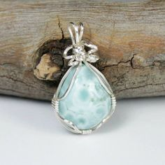 Larimar Wire Wrapped Pendant -- Healing Crystal, Pagan, Wicca, One of a kind, Stone, Necklace, Throat Chakra, Mermaid, Ocean, Sea, Emotion by LunaCelesteAustralia