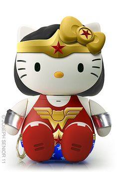 Wonder Woman Hello Kitty - 18 Pop Culture Hello Kitties That Need To Exist Bruce Timm, Wonder Woman, Hello Kitty Characters, Sanrio Characters, Hello Kitty Collection, 3d Fantasy, Kawaii, Cultura Pop, Geek Chic