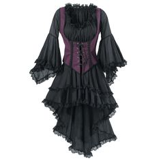 """Black Pirate Queen Dress  You can reign o'er the Spanish Main! Our swashbuckling, finely crinkle-textured dress sets the scene, falling from or off shoulder, shirred & elasticized around bodice & featuring two-tiered, lace-trimmed skirts that trail like a train from back.(extravagantly belled, lace-trimmed sleeves spill from elbows!)100%cotton gauze. Machine washable.MadeUSA.White or Black.XS,S(6-8),M(10-12),L,XL,XXL; 35""""-37"""" long (front). Bodice sold separately. Item #: P8465 $99.95"""