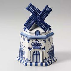 Delft Blue Windmill Cookie Jar