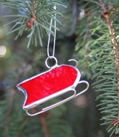 Stained Glass Ornament or Suncatcher Red Snow by CreationsbyPammy, $6.00