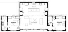 """Floorplan Confluence c.2+ Love the open kitchen/living space- great for entertaining and families. And all the access to the outside! Great """"tiny"""" house for a family. Enlarge the second bedroom a bit so more beds can be fit in. Like that the bathroom would act as a sound buffer to that bedroom."""
