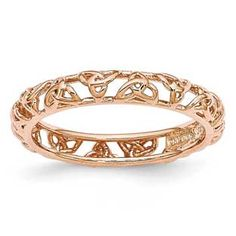Celtic Knot Symbol Stackable Ring In Rose Gold Over Sterling Silver Gemologica.com offers a large selection of stackable rings available in Sterling Silver, 10K, 14K and 18K yellow, rose and white gold. Our stack rings are available with all birthstones, gemstones and diamonds. Our selection includes stackable mothers rings and stackable wedding and engagement rings. Women's stacking jewelry can be found on our website here: www.gemologica.com/stackable-rings-c-27_243.html